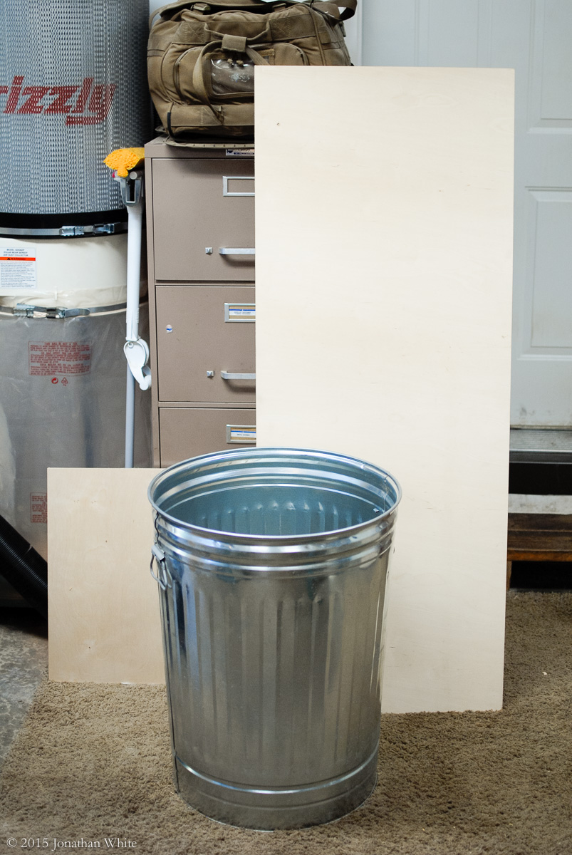 The metal trashcan that I am going to adapt with a Thien baffle.