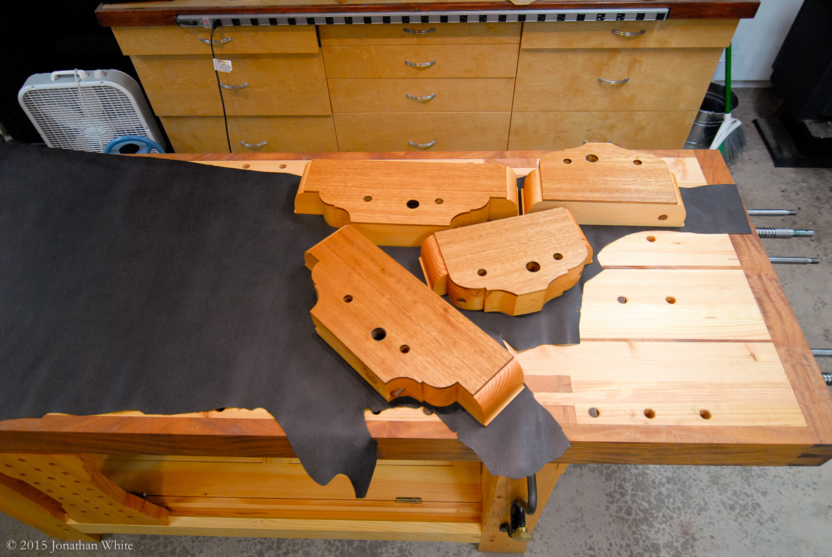 Arranging the vise chops for the most economical use of leather.